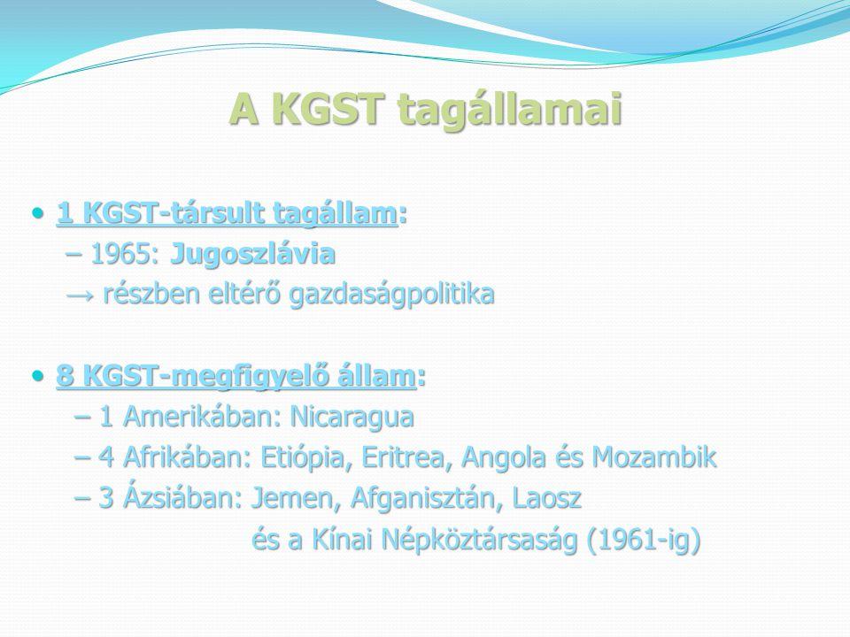 A KGST tagállamai 1 KGST-társult tagállam: – 1965: Jugoszlávia