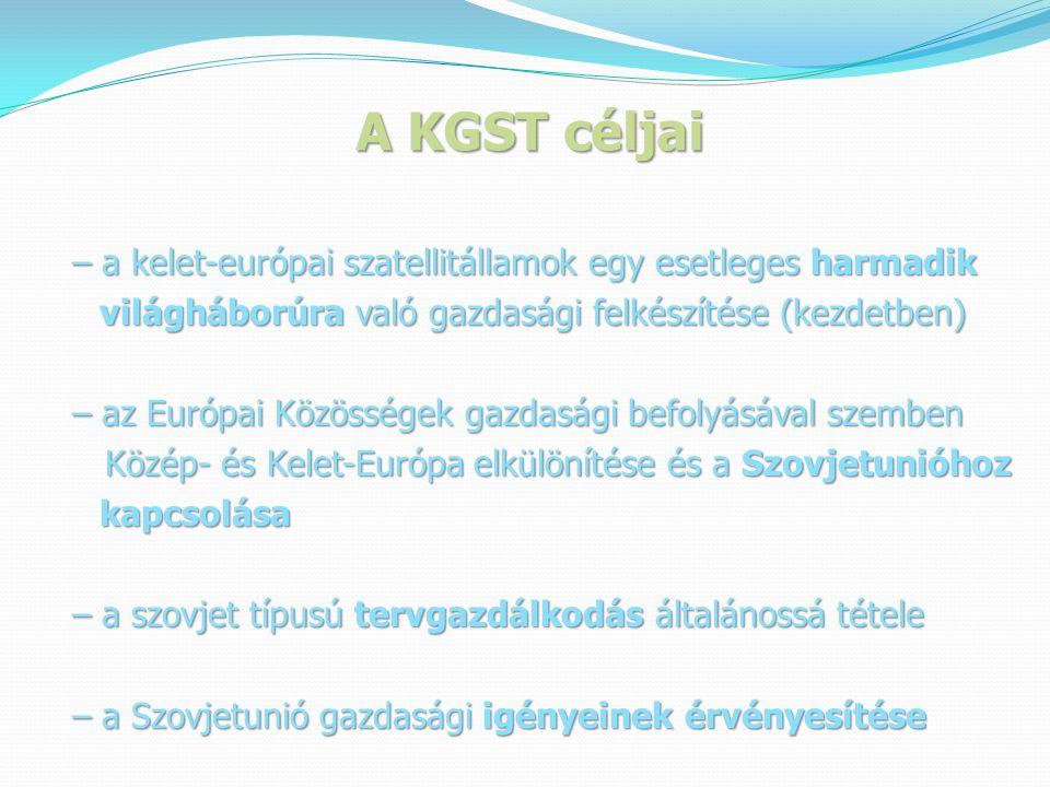 A KGST céljai