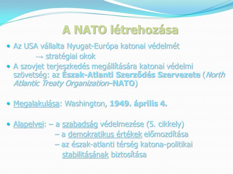 A NATO létrehozása Az USA vállalta Nyugat-Európa katonai védelmét