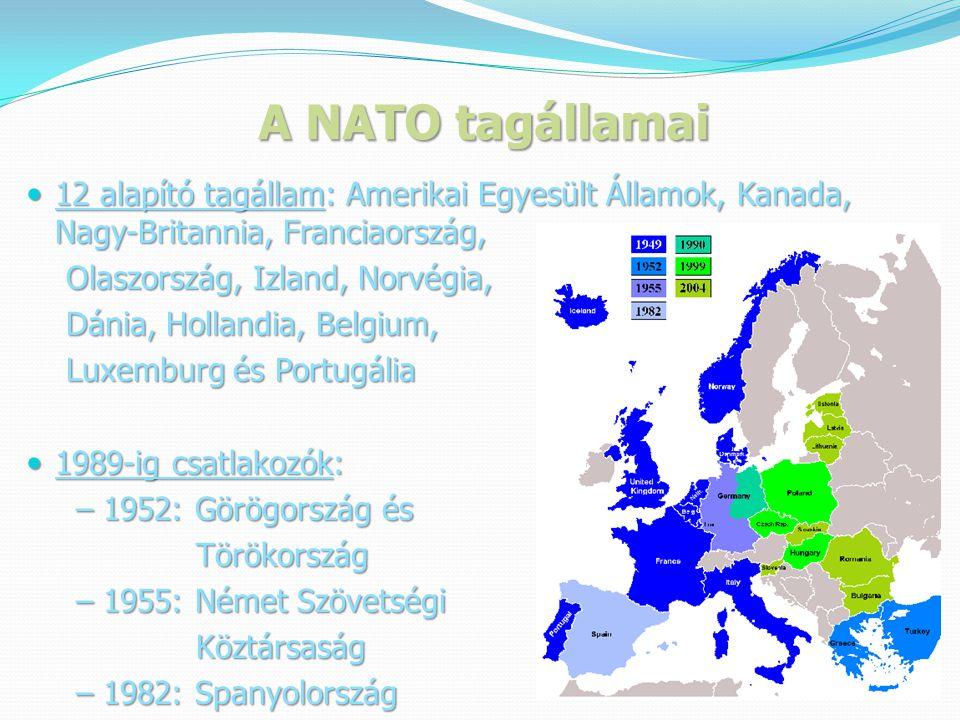 A NATO tagállamai 12 alapító tagállam: Amerikai Egyesült Államok, Kanada, Nagy-Britannia, Franciaország,
