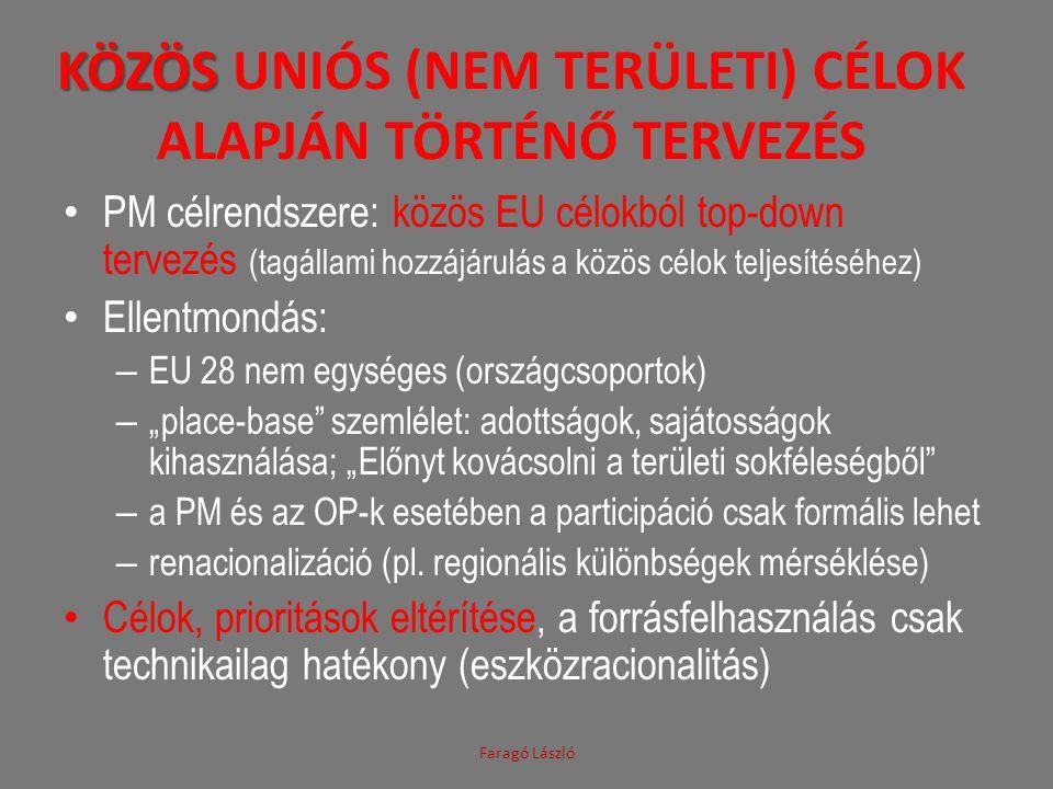 Közös uniós (nem területi) célok alapján történő tervezés