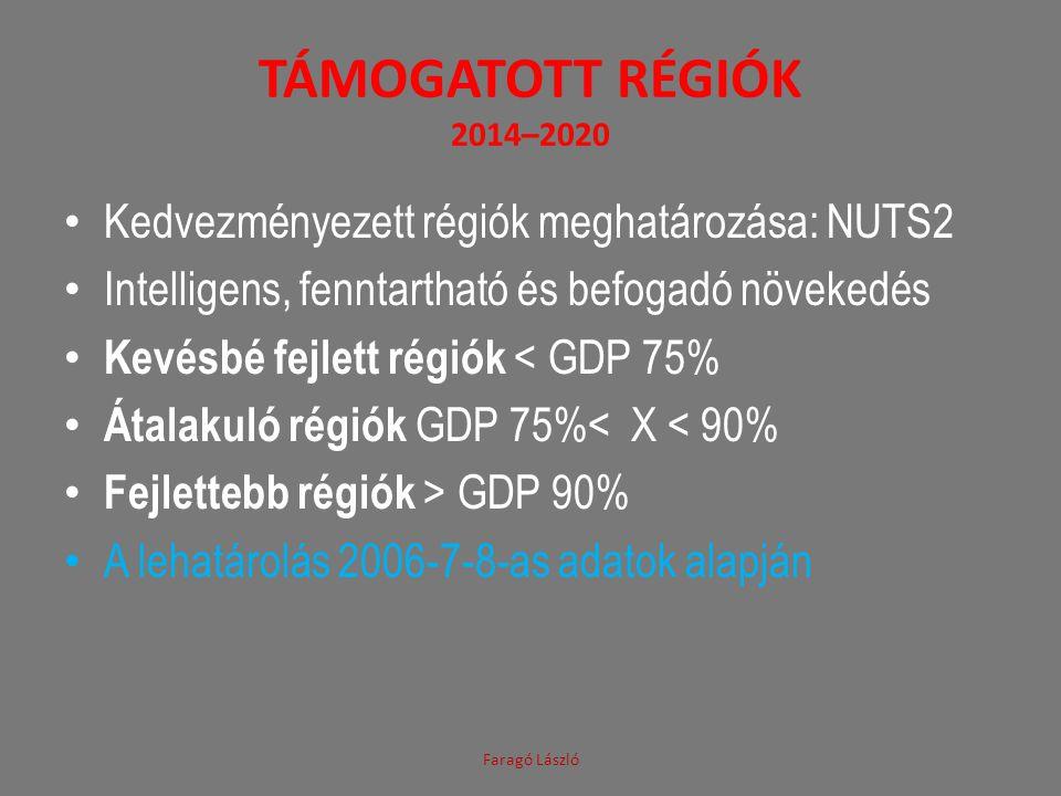 Támogatott régiók 2014–2020 Kedvezményezett régiók meghatározása: NUTS2. Intelligens, fenntartható és befogadó növekedés.