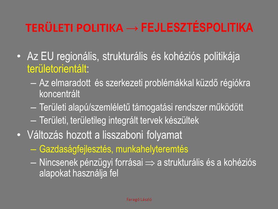 Területi politika → fejlesztéspolitika