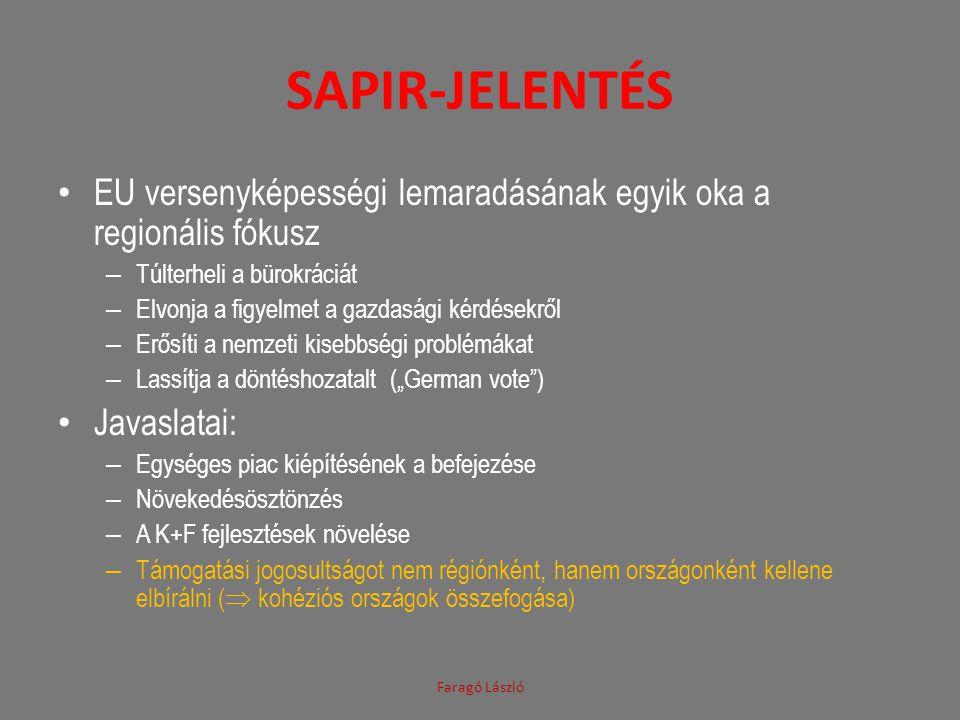 Sapir-jelentés EU versenyképességi lemaradásának egyik oka a regionális fókusz. Túlterheli a bürokráciát.