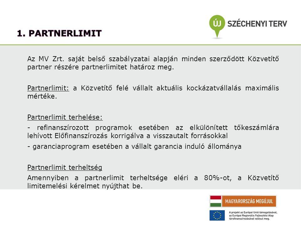 1. partnerlimit Az MV Zrt. saját belső szabályzatai alapján minden szerződött Közvetítő partner részére partnerlimitet határoz meg.