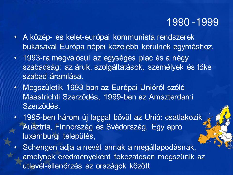 1990 -1999 A közép- és kelet-európai kommunista rendszerek bukásával Európa népei közelebb kerülnek egymáshoz.