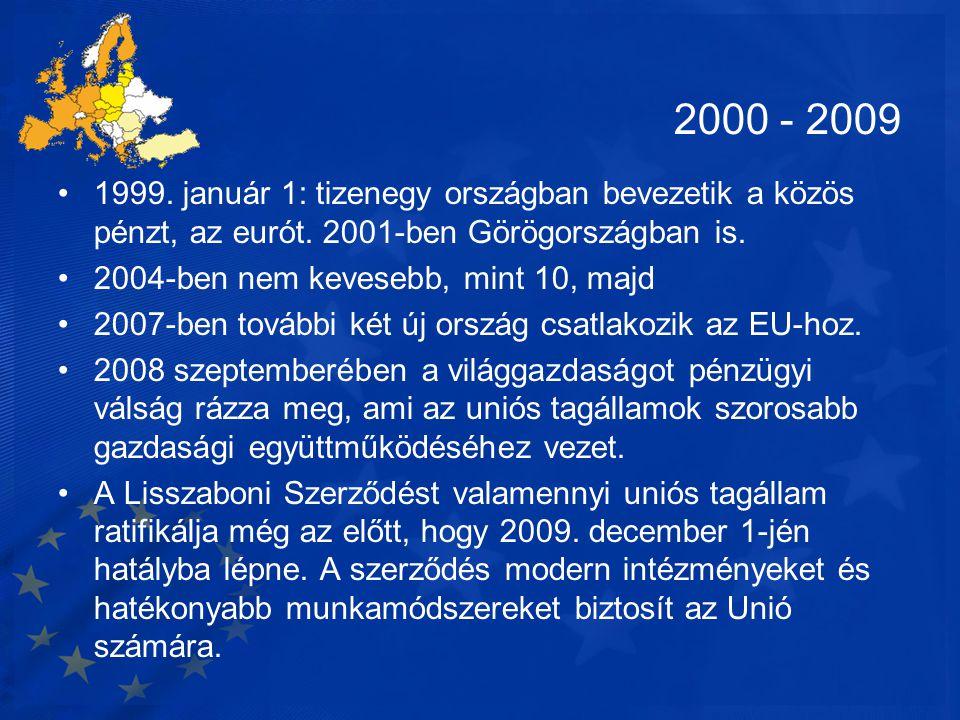 2000 - 2009 1999. január 1: tizenegy országban bevezetik a közös pénzt, az eurót. 2001-ben Görögországban is.
