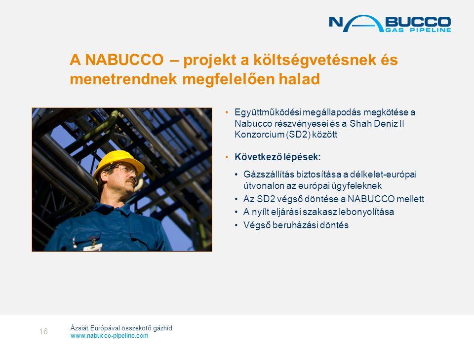 2017.04.04. A NABUCCO – projekt a költségvetésnek és menetrendnek megfelelően halad.