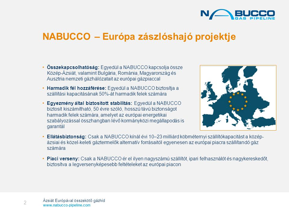 NABUCCO – Európa zászlóshajó projektje