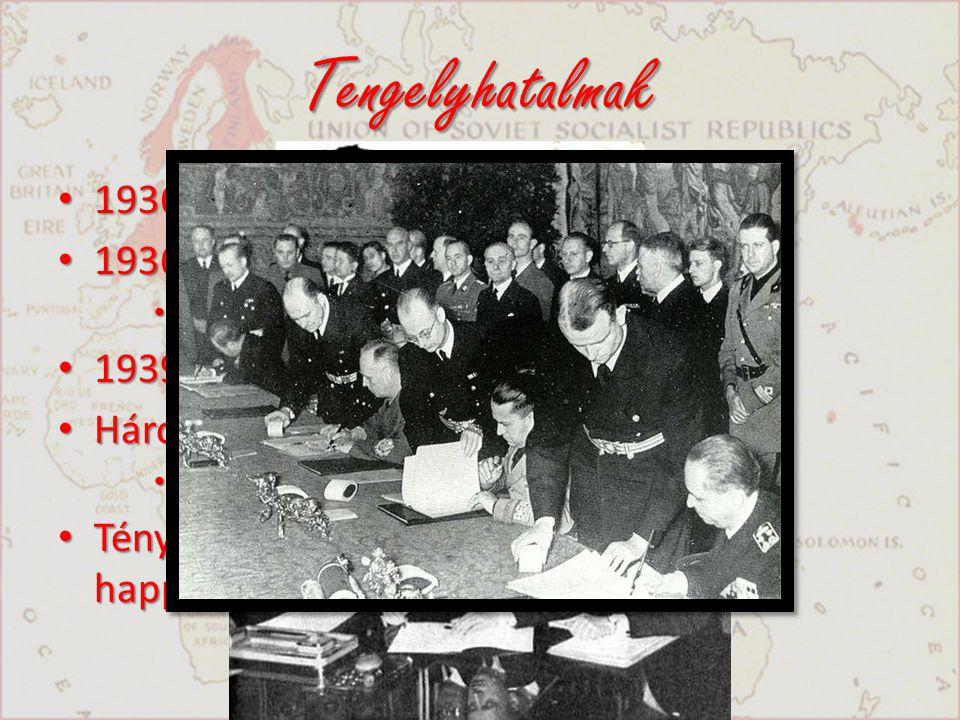 Tengelyhatalmak 1936 Német – olasz egyezmény 1936 Antikomintern Paktum
