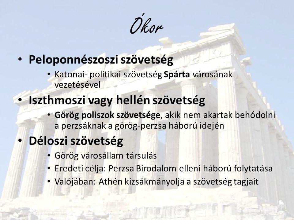 Ókor Peloponnészoszi szövetség Iszthmoszi vagy hellén szövetség