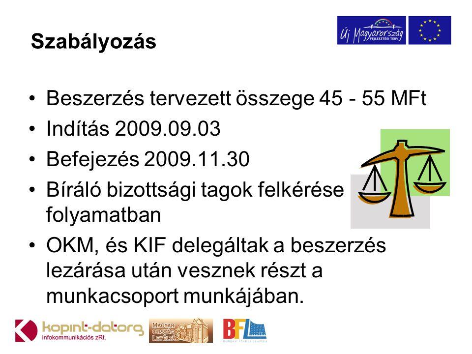Szabályozás Beszerzés tervezett összege 45 - 55 MFt. Indítás 2009.09.03. Befejezés 2009.11.30. Bíráló bizottsági tagok felkérése folyamatban.
