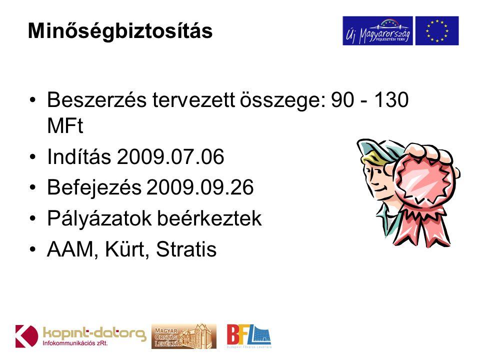 Beszerzés tervezett összege: 90 - 130 MFt Indítás 2009.07.06
