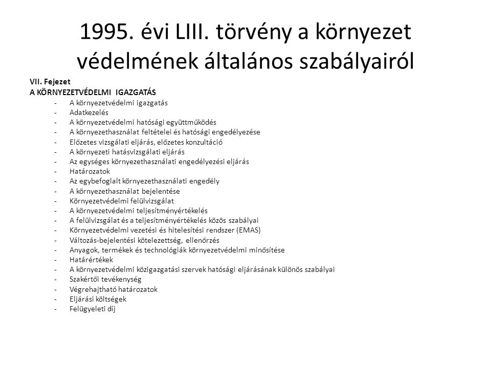 1995. évi LIII. törvény a környezet védelmének általános szabályairól