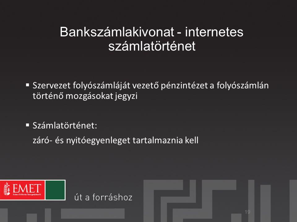 Bankszámlakivonat - internetes számlatörténet