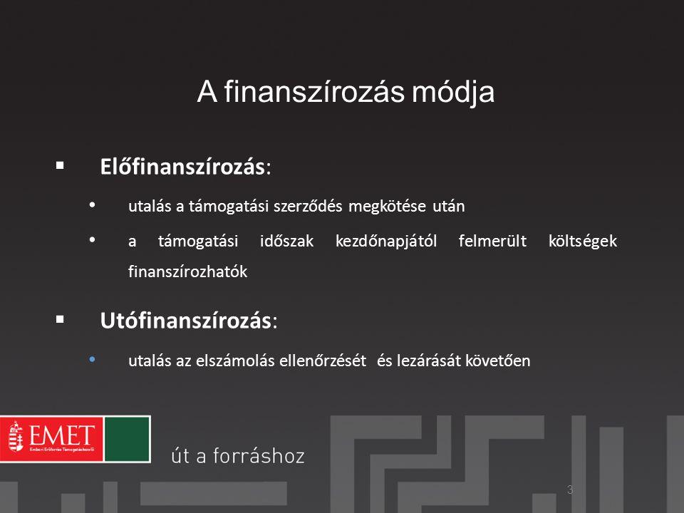 A finanszírozás módja Előfinanszírozás: Utófinanszírozás: