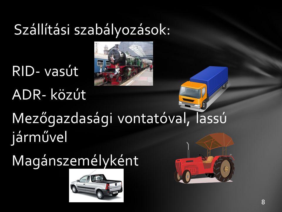 Szállítási szabályozások: