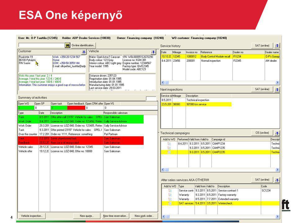 ESA One képernyő