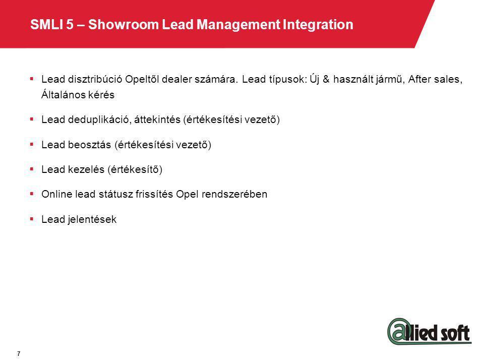 SMLI 5 – Showroom Lead Management Integration