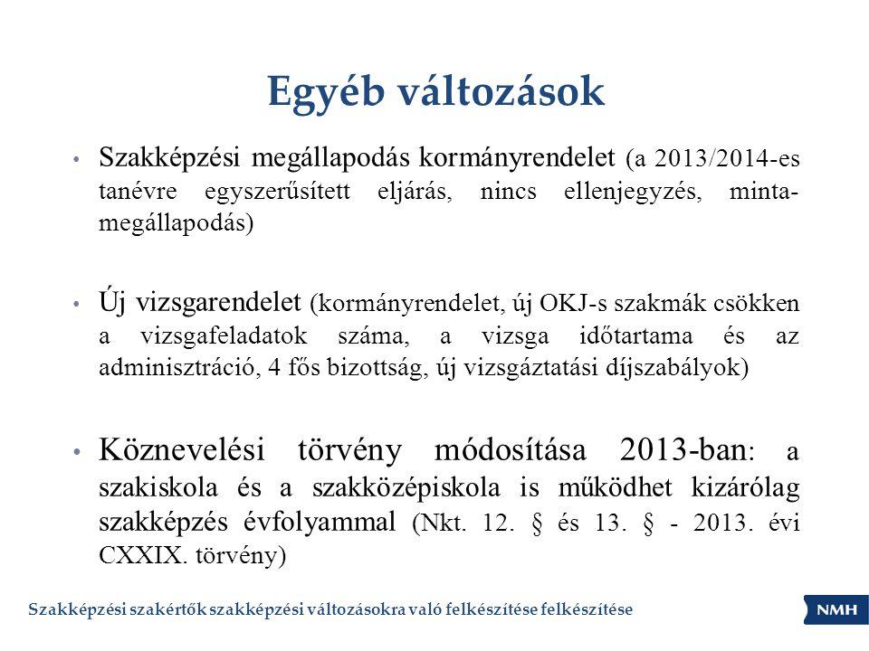 Egyéb változások Szakképzési megállapodás kormányrendelet (a 2013/2014-es tanévre egyszerűsített eljárás, nincs ellenjegyzés, minta- megállapodás)