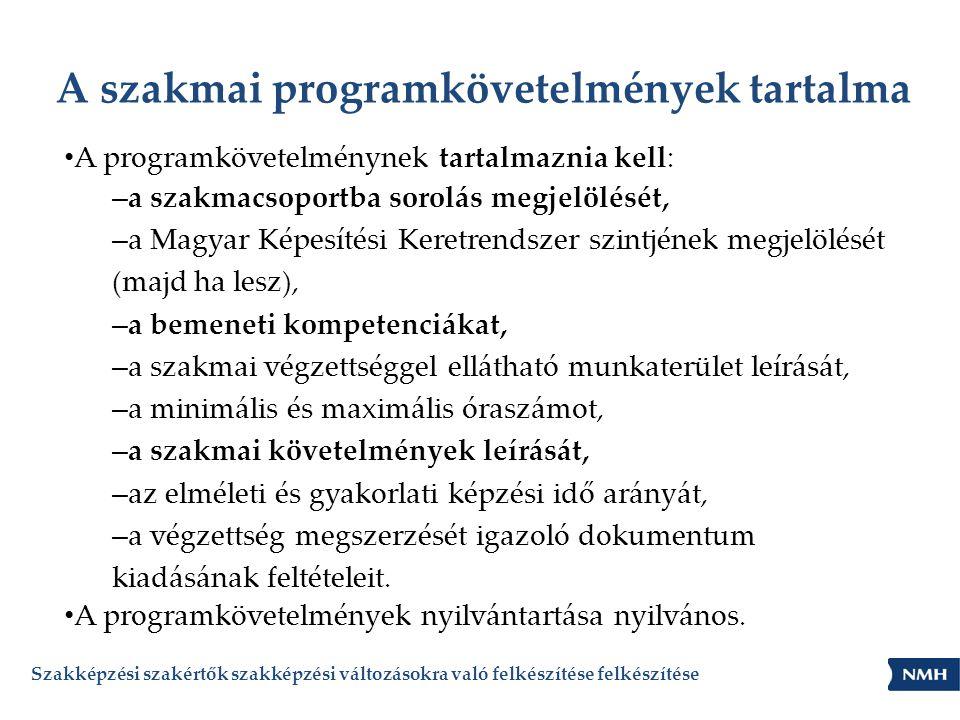 A szakmai programkövetelmények tartalma