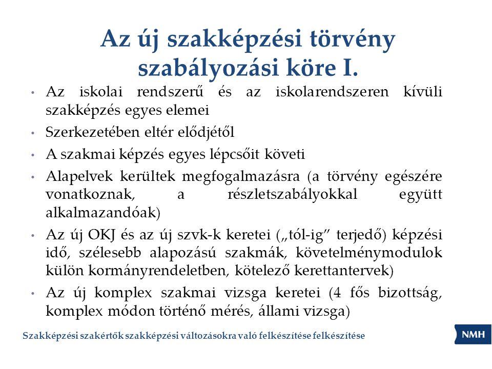 Az új szakképzési törvény szabályozási köre I.