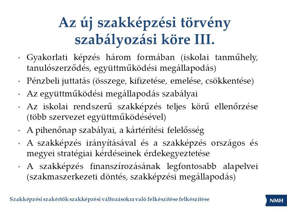 Az új szakképzési törvény szabályozási köre III.