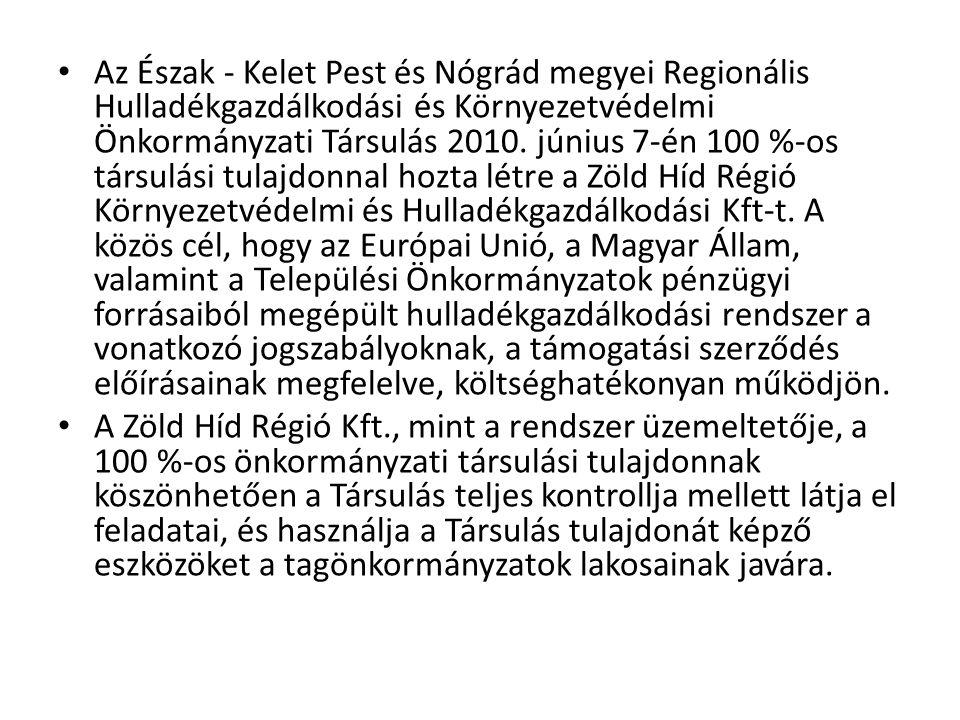 Az Észak - Kelet Pest és Nógrád megyei Regionális Hulladékgazdálkodási és Környezetvédelmi Önkormányzati Társulás 2010. június 7-én 100 %-os társulási tulajdonnal hozta létre a Zöld Híd Régió Környezetvédelmi és Hulladékgazdálkodási Kft-t. A közös cél, hogy az Európai Unió, a Magyar Állam, valamint a Települési Önkormányzatok pénzügyi forrásaiból megépült hulladékgazdálkodási rendszer a vonatkozó jogszabályoknak, a támogatási szerződés előírásainak megfelelve, költséghatékonyan működjön.
