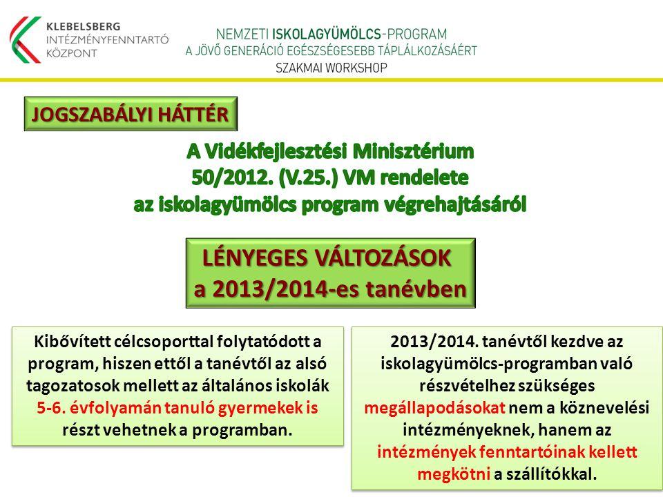 LÉNYEGES VÁLTOZÁSOK a 2013/2014-es tanévben