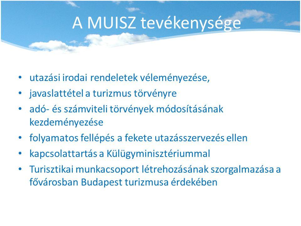 A MUISZ tevékenysége utazási irodai rendeletek véleményezése,