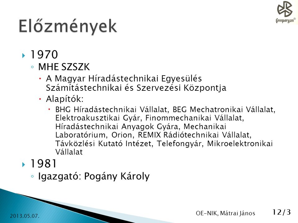 Előzmények 1970 1981 MHE SZSZK Igazgató: Pogány Károly