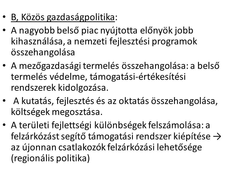 B, Közös gazdaságpolitika: