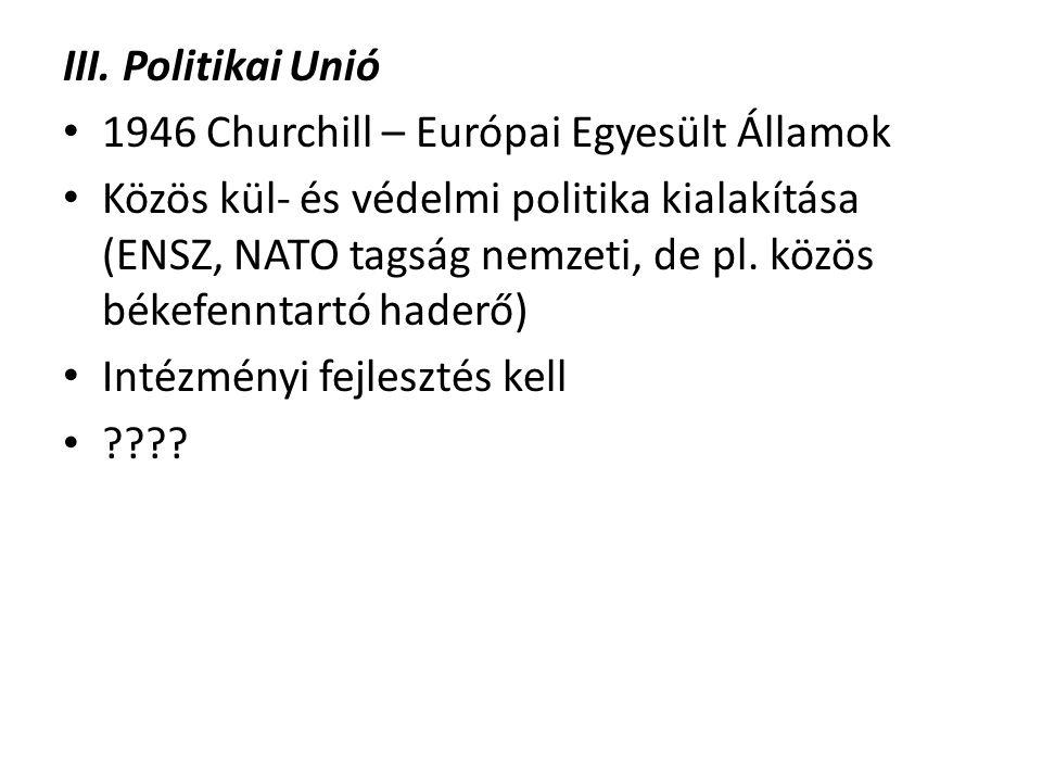III. Politikai Unió 1946 Churchill – Európai Egyesült Államok.