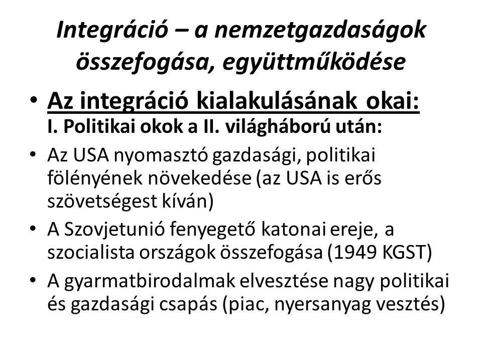 Integráció – a nemzetgazdaságok összefogása, együttműködése