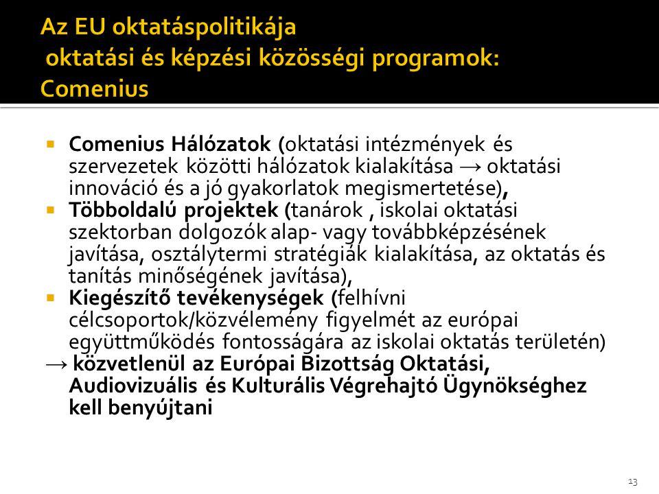 Az EU oktatáspolitikája oktatási és képzési közösségi programok: Comenius