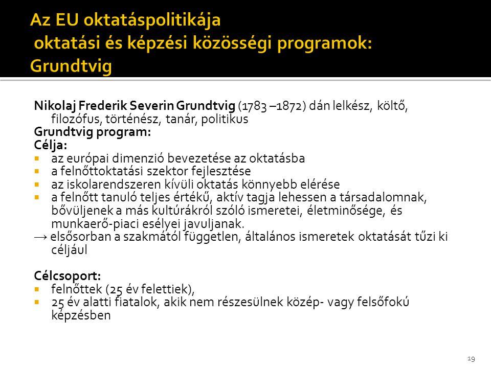 Az EU oktatáspolitikája oktatási és képzési közösségi programok: Grundtvig