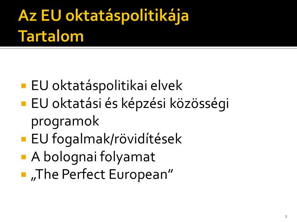 Az EU oktatáspolitikája Tartalom