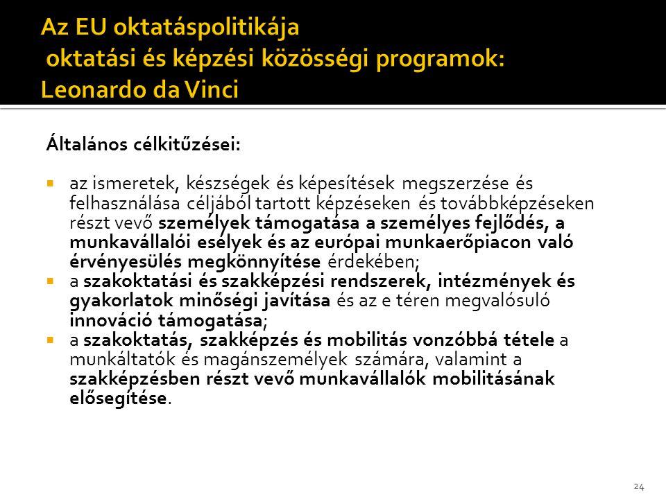 Az EU oktatáspolitikája oktatási és képzési közösségi programok: Leonardo da Vinci