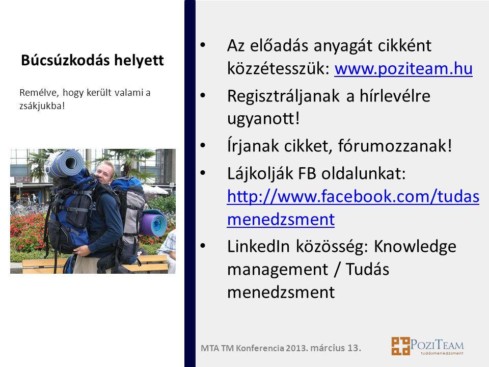 Az előadás anyagát cikként közzétesszük: www.poziteam.hu