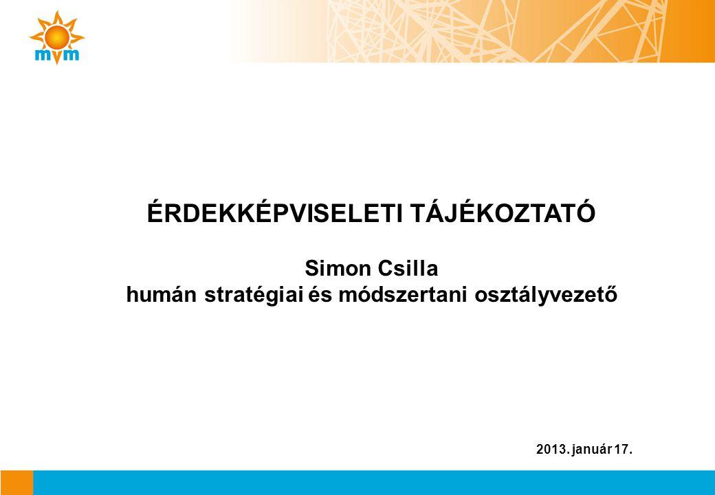 ÉRDEKKÉPVISELETI TÁJÉKOZTATÓ Simon Csilla humán stratégiai és módszertani osztályvezető
