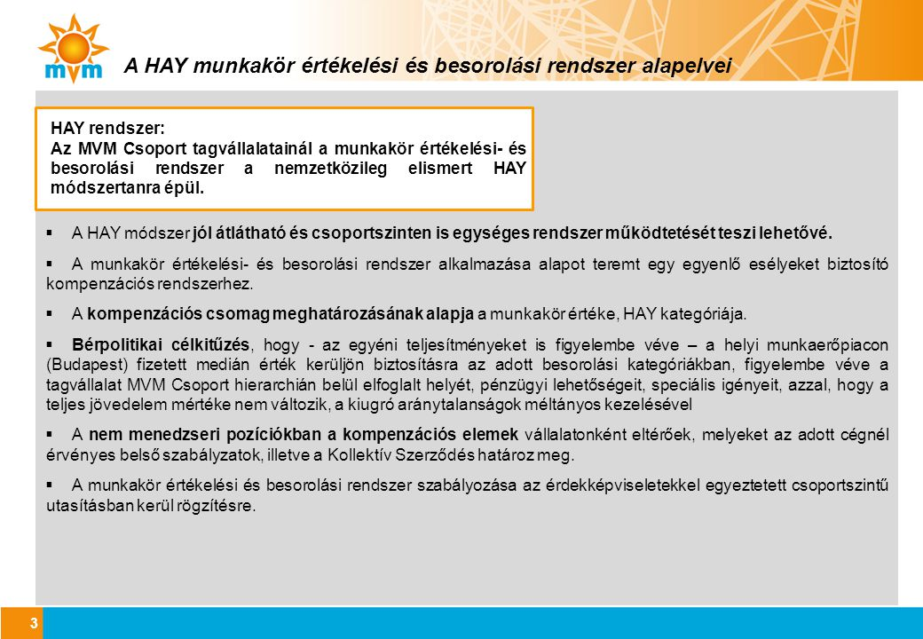 A HAY munkakör értékelési és besorolási rendszer alapelvei