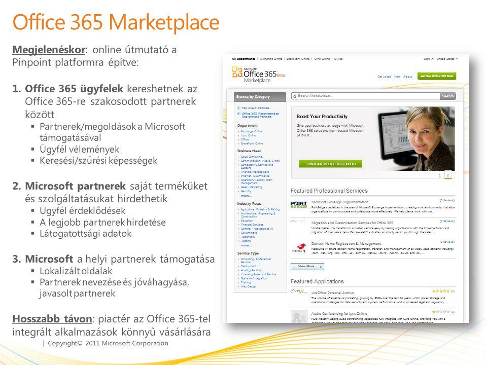 Office 365 Marketplace Megjelenéskor: online útmutató a Pinpoint platformra építve: