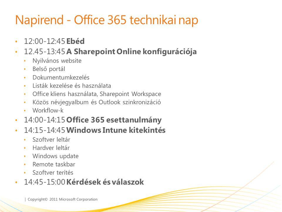 Napirend - Office 365 technikai nap