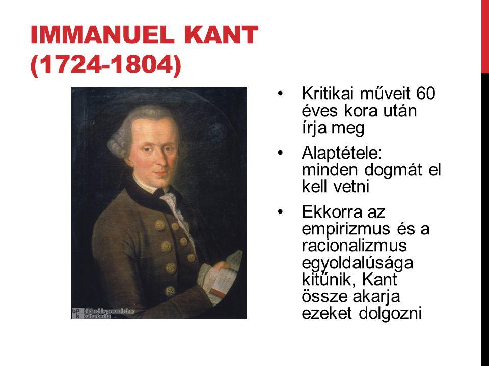 Immanuel Kant (1724-1804) Kritikai műveit 60 éves kora után írja meg