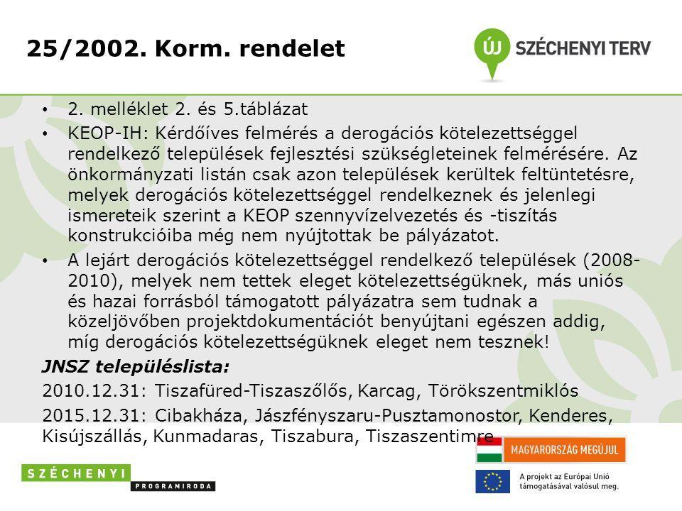 25/2002. Korm. rendelet 2. melléklet 2. és 5.táblázat