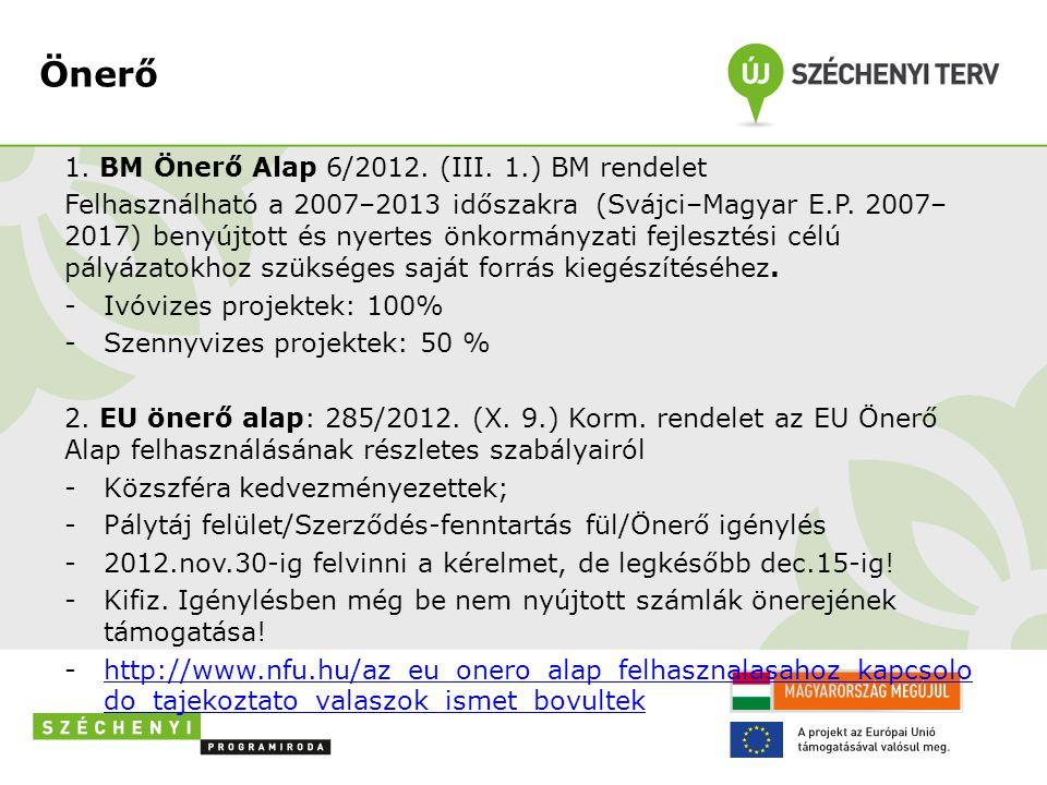Önerő 1. BM Önerő Alap 6/2012. (III. 1.) BM rendelet