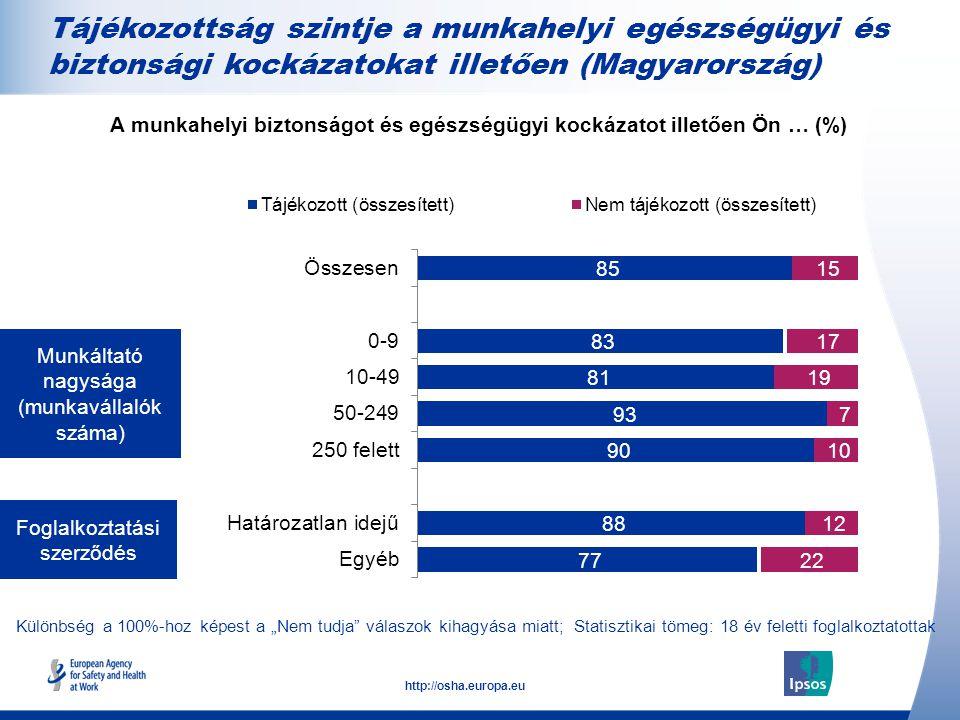 A munkahelyi biztonságot és egészségügyi kockázatot illetően Ön … (%)