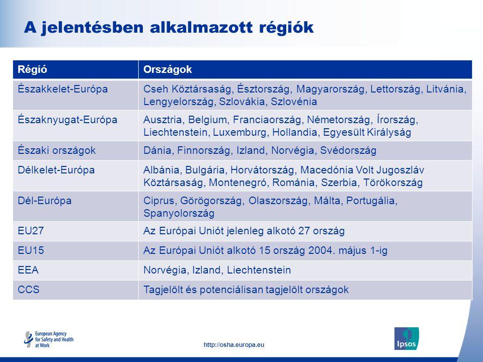 A jelentésben alkalmazott régiók