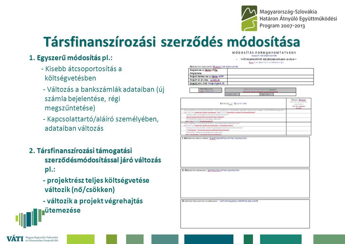 Társfinanszírozási szerződés módosítása