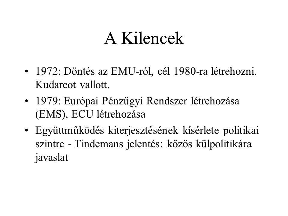 A Kilencek 1972: Döntés az EMU-ról, cél 1980-ra létrehozni. Kudarcot vallott. 1979: Európai Pénzügyi Rendszer létrehozása (EMS), ECU létrehozása.